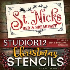 "A silhouette of Santa's sleigh and reindeer fly over the words ""St. Nick's Bed & Breakfast"" in this charming stencil sure to be the highlight of your Christmas décor. Create this design to add a little nod to that jolly red-suited man, to your kitchen, entertainment area or child's bedroom or paint as a warm welcome sign for the front porch! Our products are made with high quality mylar and are reusable. Visit StudioR12 for STCL5170 and MORE! USA Made! Quick shipping & 100% Guaranteed!"