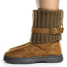 Round Toe Knitted Ankle Shaft Fur Lined Winter Boots >>> You can get additional details at the image link.