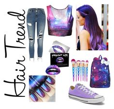 """galaxy matching outfit"" by mirna-s ❤ liked on Polyvore featuring beauty, SANRIO, Converse, River Island, Forever 21, hairtrend and rainbowhair"