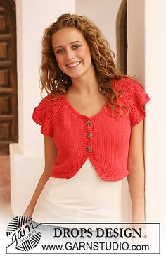 "113-23 Bolero in ""Paris"" with short, wide sleeves in lace pattern by DROPS design"