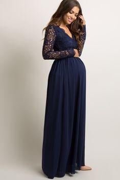 2f662a67d75 Light Pink Scalloped Crochet Chiffon Maternity Evening Gown. Navy Blue ...