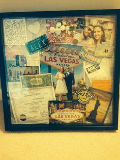 Shadow box. Las Vegas wedding, New York Honeymoon.