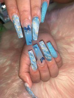 Acrylic Nails Coffin Pink, Acrylic Nail Designs Glitter, Long Square Acrylic Nails, Simple Acrylic Nails, Acrylic Nail Designs For Summer, Nail Designs Bling, Butterfly Nail Designs, Nail Bling, Blue Nail Designs
