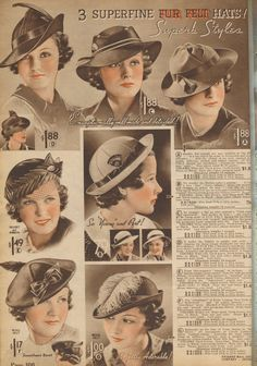 74940694080 1930s hats - Chicago Mail Order Co. Vintage Outfits