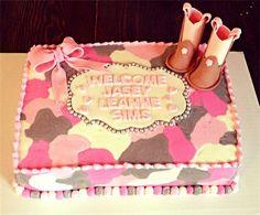 Cowgirl, camo baby shower cake