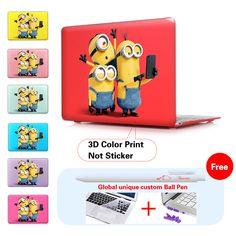 Minion Take Photo Insert Dark Red Print Laptop Computer Case For Apple Mac Macbook Pro 15 Case Cover / Macbook Pro 13 15 Retina