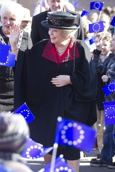 Queen Beatrix of The Netherlands attends the European school's 50th anniversary celebrations on 12 Mar 2013 in Bergen