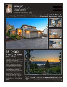 Price Improved! Real Estate Now for Sale at $519,000! 4 Bd/2.1 Ba Exceptional Two Story Columbia View Home on 2 Acres with Gorgeous River Views at: 114 Upland Dr, Woodland, Cowlitz County, WA! Area 81. Listing Broker: Jacqueline Shirley (360) 904-7792, Pro Realty Group NW, Vancouver, WA! #realestate #priceimproved #woodlandrealestate #exceptionalrealestate #ColumbiaViewRealEstate #columbiariver #views #acreage #JacquelineShirley #ProRealtyGroupNW