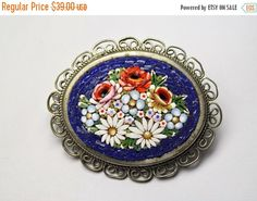 ON SALE VINTAGE Micro Mosaic Brooch, Silver Filigree, Blue, Multicolor Flowers, Bouquet, Floral, So Gorgeous!! #B108 by HauteVintageJewels on Etsy https://www.etsy.com/listing/246943574/on-sale-vintage-micro-mosaic-brooch