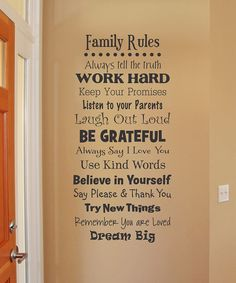Black Whimsical 'Family Rules' Wall Quote