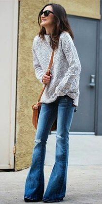 Flared Jeans, Oversized Sweater