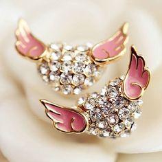Contrast Color Cute Wings Love Heart Stud Earring