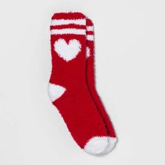 Xhilaration Women's Heart Fuzzy Valentine's Day Socks - Xhilaration Red