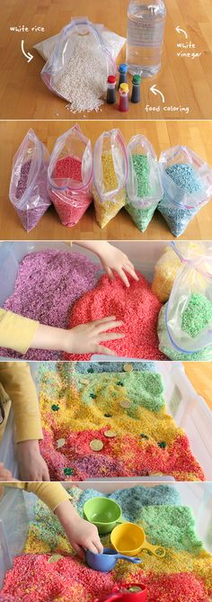 Sensory Box How to make rainbow rice for arts, crafts, and sensory play. (Play Recipe)How to make rainbow rice for arts, crafts, and sensory play. Kids Crafts, Toddler Crafts, Arts And Crafts, Baby Crafts, Quick Crafts, Infant Activities, Preschool Activities, Nanny Activities, Rainbow Crafts Preschool