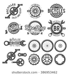Set of vintage and modern bicycle shop logo badges and labels. Bicycle wheel isolated vector, bicycle parts icon, bicycle shop and repair logotypes, bicycle chain, bicycle old style badge template - stock vector Bicycle Shop, Bicycle Wheel, Bicycle Art, Bike Shops, Logo Velo, Bike Logo, Boutique Velo, Logo Boutique, Shop Logo