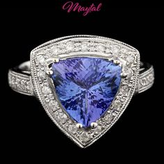MAYTAL JEWELRY 14K WHITE GOLD 3.30CTW TANZANITE DIAMOND RING $3900 CERTIFIED  #Cocktail