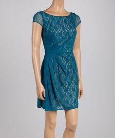 Blue Ruched Lace Cap-Sleeve Dress - Women