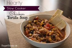 Hearty Slow Cooker Chicken Tortilla Soup: This recipe is SO easy to make and has incredible flavors! #fallrecipes #winterrecipes #soup