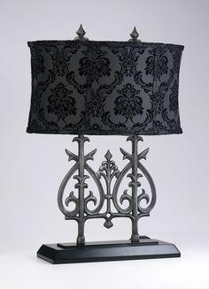 Plain black shade, Shiny silver or gold metal