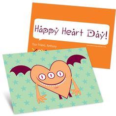 Kids Valentine's Day Cards -- Orange Monster