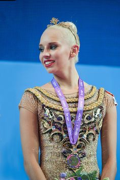 YANA KUDRYAVTSEVA of Russia receives crown and gold medal for AA win  at 2016 European Championships at Holon, Israel on June 18, 2016.
