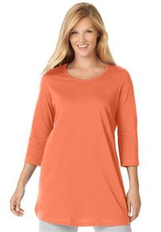 Plus Size Perfect knit tunic shirt in pure cotton with scoop neck, 3/4 sleeves