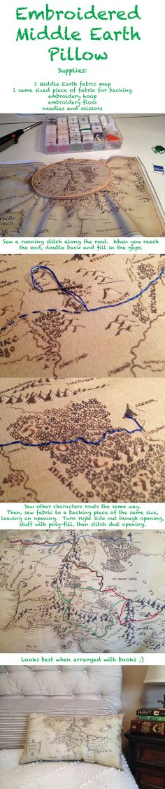 How to make a Middle Earth pillow embroidered with the journeys of your favorite characters.  Follow link to find the map fabric!