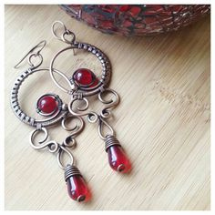 Deep red chandelier earrings wire wrapped crystal earrings red