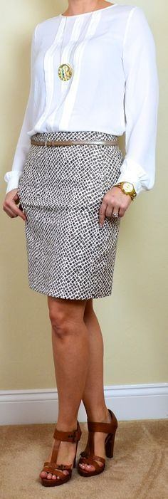 White pleat blouse Beige pattern pencil skirt (different pattern than shown) Brown mary janes Sunburst necklace Gold belt Gold link watch Outfit Posts: (outfits one suitcase: spring business casual capsule wardrobe Business Fashion, Business Outfits, Business Attire, Office Fashion, Work Fashion, Business Casual, Business Clothes, Casual Office, Office Chic