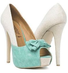 Women's Fashion High Heels :    Duck egg blue and cream shoes = GORGEOUS  - #HighHeels https://youfashion.net/shoes/high-heels/best-womens-high-heels-duck-egg-blue-and-cream-shoes-gorgeous/