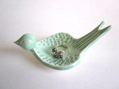Ring dish, Mint green, Ring holder, Ceramic Jewelry dish, Wedding ring holder, Candle holder, Clay Pottery,. $20.00, via Etsy.