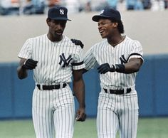 659591da90 Yankees outfielder Rickey Henderson welcomes Claudell Washington to New York  after Washington was obtained from the