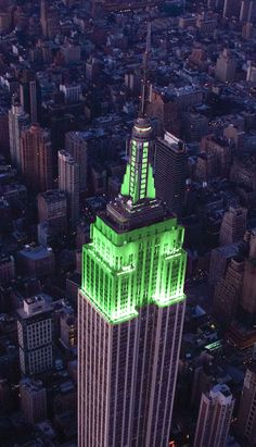 August 1, 2013: Our lights glow green in honor of the New York Cosmos' inaugural season. Welcome back, team! #CosmosReboot #soccer