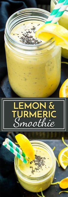 Lemon Turmeric Smoothie with Chia Seeds | A healthy breakfast smoothie made with bananas, fresh lemon juice and zest, yogurt, chia seeds and turmeric!