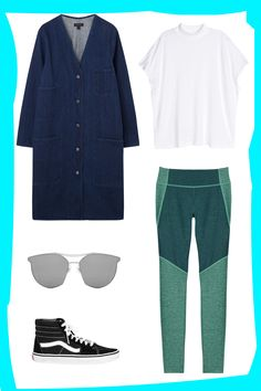 How To Wear Leggings In Public & Actually Look Amazing #refinery29  http://www.refinery29.com/leggings-as-pants#slide-3  Weekend outings have met their match with this on-the-go daytime look. Start with a colorful pair of leggings and pair them with a twist on a white tee. Top it off with a sophisticated denim jacket and finish with metallic sunglasses and your favorite high-tops.Outdoor Voices Two-tone Kneecap Legging, $75, available at <a…