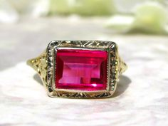 Antique Ruby Engagement Ring 14K Two Tone by LadyRoseVintageJewel