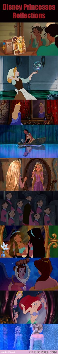 """I love how Elsa's is all disfigured and blurry because it think that's showing something. I think it's showing that Elsa doesn't really know who she is and what her powers are and what they can do. Also, if you look closely, you can see two reflections in Elsa's. One is calm while the other is fearful and scared. The calm one is watching while the scared one is the one Elsa's is seeing. Elsa is seeing herself as a monster in her own reflection. I think that's another disney Easter egg."""