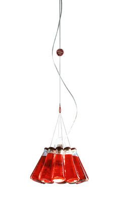 Campari Light Suspension L 155 cm - Ingo Maurer eur270  Ten authentic Campari soda bottles, (can be replaced with other bottles.) Cable H is adjusted using true capsule Campari. max L300 cm.   Product Type: Suspension  Color: Red  Material: Bottle: glass - Capsules: metal - Rosette: transparent plastic  Dimensions: Ø 23 cm x H 20 cm - Adjustable height with cable L 155 cm  Features: PAR30 Halogen bulb (included): 1 x 75W max E27