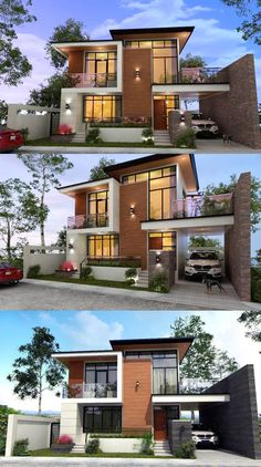 Who could resist that jaw-dropping and stunning double-storey modern house? - House And Decors 3 Storey House Design, Double Storey House, Duplex House Design, House Front Design, Two Storey House Plans, Double House, Apartment Design, Modern Exterior House Designs, Modern House Facades