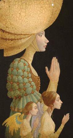 James C. Christensen - Portrait of Caterina Van Leyden with Small Angels