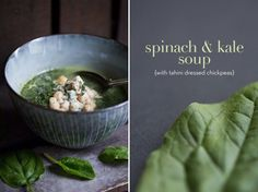 Spinach & Kale Soup with Tahini Dressed Chickpeas (Green Kitchen Stories) Kale And Spinach, Spinach Soup, Kale Soup, Soup And Salad, Soup Recipes, Vegetarian Recipes, Cooking Recipes, Healthy Recipes, Vegan Soups