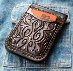 Wallet ~ hand-carved 'n' tooled and sewn leather wallet with nickel studs