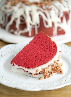 Red Velvet Pound Cake with Cream Cheese Glaze Red Velvet Pound Cake Recipe, Moistest Red Velvet Cake Recipe, Homemade Cream Cheese Icing, Cream Cheese Glaze, Pound Cake Recipes, Easy Cake Recipes, Pound Cakes, Dessert Recipes, Cupcake Recipes