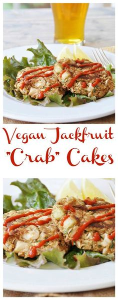 "Mild jackfruit is transformed into a delicious ""crab"" cake. Perfect for an entree or an appetizer. Mild jackfruit is transformed into a delicious ""crab"" cake. Perfect for an entree or an appetizer. Crab Cakes, Vegan Foods, Vegan Dishes, Vegan Crab, Vegetarian Recipes, Healthy Recipes, Vegan Recipes With Jackfruit, Vegetable Recipes, Vegan Appetizers"