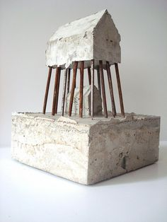 M - 4  concrete and nails, sculpture Sharon Pazner