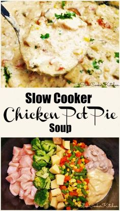 If you're looking for absolute yumminess in a quick and easy soup. Super simple, 6 to 7 ingredient, crock pot chicken pot pie soup. Slow Cooker Soup, Slow Cooker Chicken, Slow Cooker Recipes, Crockpot Recipes, Chicken Recipes, Chicken Pot Pie Soup Recipe Easy, Crockpot Pie, Chicken Crock Pot Meals, Crock Pot Dump Meals