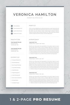 1-page and 2-page professional resume template with cover letter and references page in matching designs. Available for Microsoft Word and Mac Pages. #resume #resumetemplate #career #careertips #careeradvice #job #jobs #jobsearch #jobhunt One Page Resume Template, Modern Cv Template, Resume Templates, Resume References, References Page, Cover Letter For Resume, Cover Letter Template, Resume Tips, Resume Examples