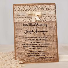 Rustic wedding invitation, 1.89  invitation,  burlap and lace wedding invitation, rustic invites, barn wedding. Purchase listing for samples on Etsy, $3.50