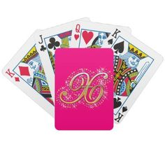 Gold & Diamonds - Elegant and Pink Playing Cards with Your Initial ''X''.