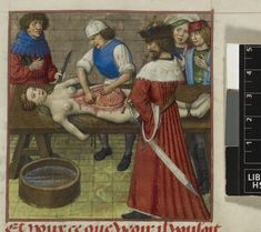 Nero and Agrippina. Nero watching as his mother Agrippina is dissected. Roman de la Rose, c. 1490- c.1500, Harley 4425, f. 59, The British Library.